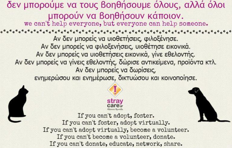 Stray-Care.gr Αδέσποτη Φροντίδα - Μορφές Εθελοντισμού - kinds of adoption